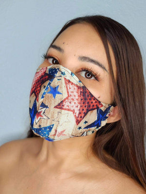 TAN STARS FACE MASK 100% COTTON THREE LAYER WITH POCKET HANDCRAFTED BY HOUSEWIVES FROM MY DESIGNS FLORIDA