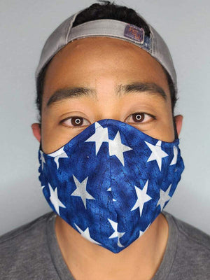 AMERICA FACE MASK 100% COTTON THREE LAYER WITH POCKET HANDCRAFTED BY HOUSEWIVES FROM MY DESIGNS FLORIDA