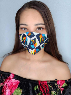 DARTH VADER FACE MASK 100% COTTON THREE LAYER WITH POCKET HANDCRAFTED BY HOUSEWIVES FROM MY DESIGNS FLORIDA