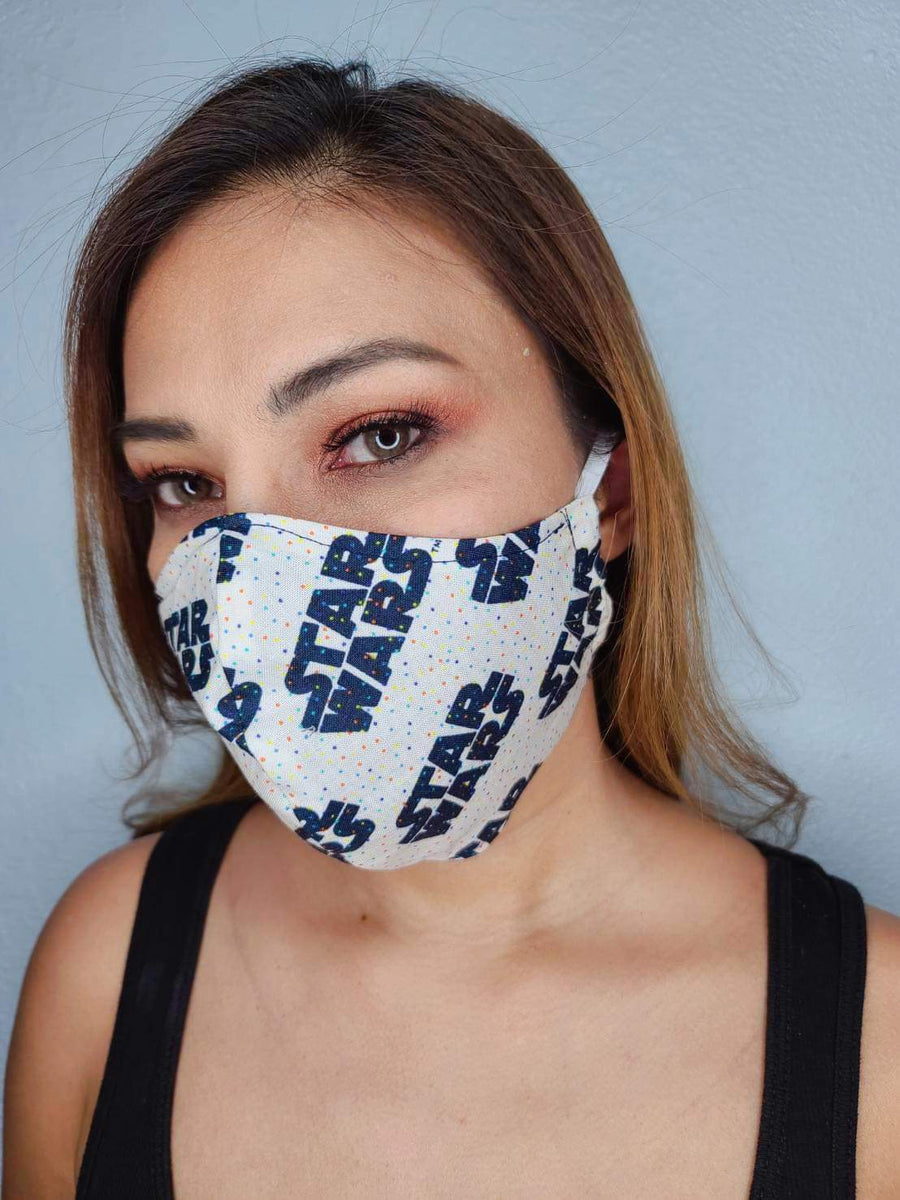 STAR WARS FACE MASK 100% COTTON THREE LAYER WITH POCKET HANDCRAFTED BY HOUSEWIVES FROM MY DESIGNS FLORIDA