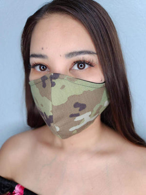 MULTI-CAM FACE MASK 100% COTTON THREE LAYER WITH POCKET HANDCRAFTED BY HOUSEWIVES FROM MY DESIGNS FLORIDA