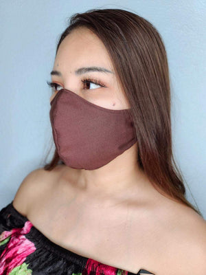 BROWN FACE MASK 100% COTTON THREE LAYER WITH POCKET HANDCRAFTED BY HOUSEWIVES FROM MY DESIGNS FLORIDA