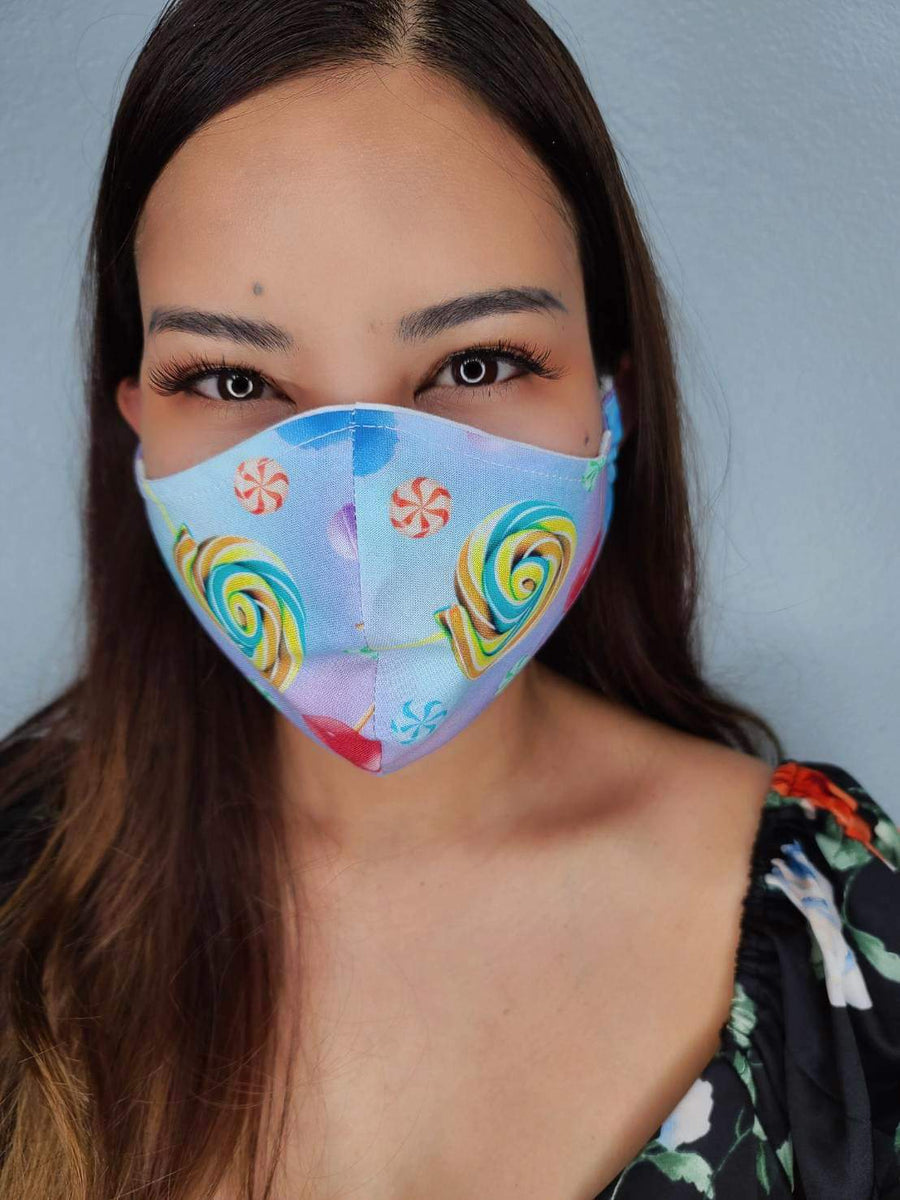 BLUE CANDY FACE MASK 100% COTTON THREE LAYER WITH POCKET HANDCRAFTED BY HOUSEWIVES FROM MY DESIGNS FLORIDA