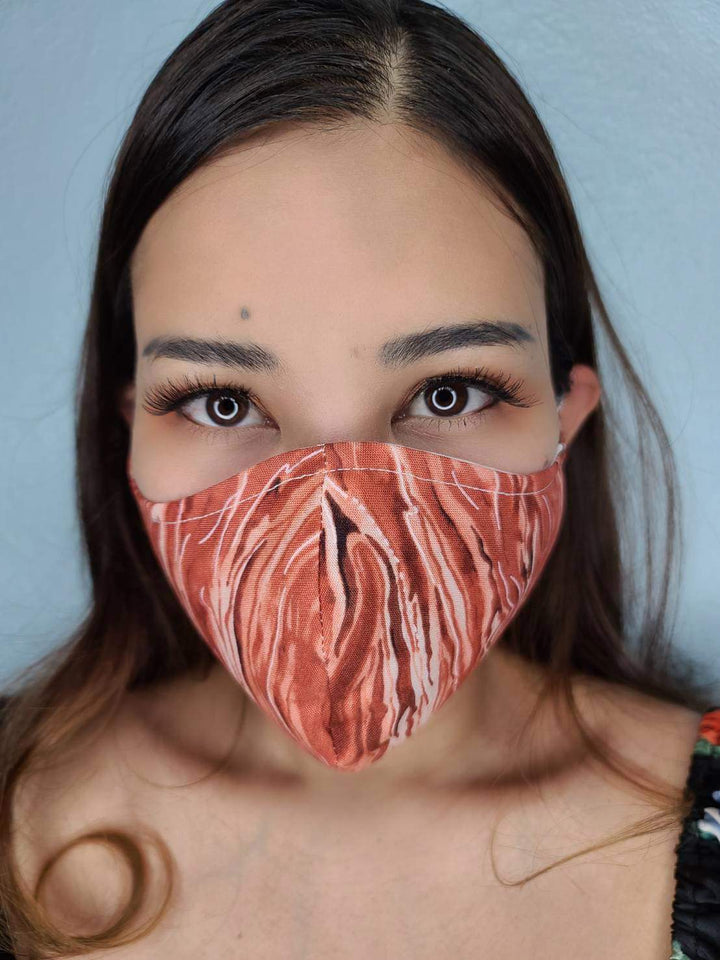 TIGER FACE MASK 100% COTTON THREE LAYER WITH POCKET HANDCRAFTED BY HOUSEWIVES FROM MY DESIGNS FLORIDA