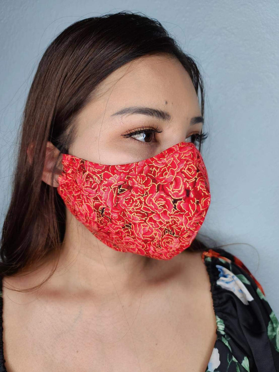 ROSE FACE MASK 100% COTTON THREE LAYER WITH POCKET HANDCRAFTED BY HOUSEWIVES FROM MY DESIGNS FLORIDA