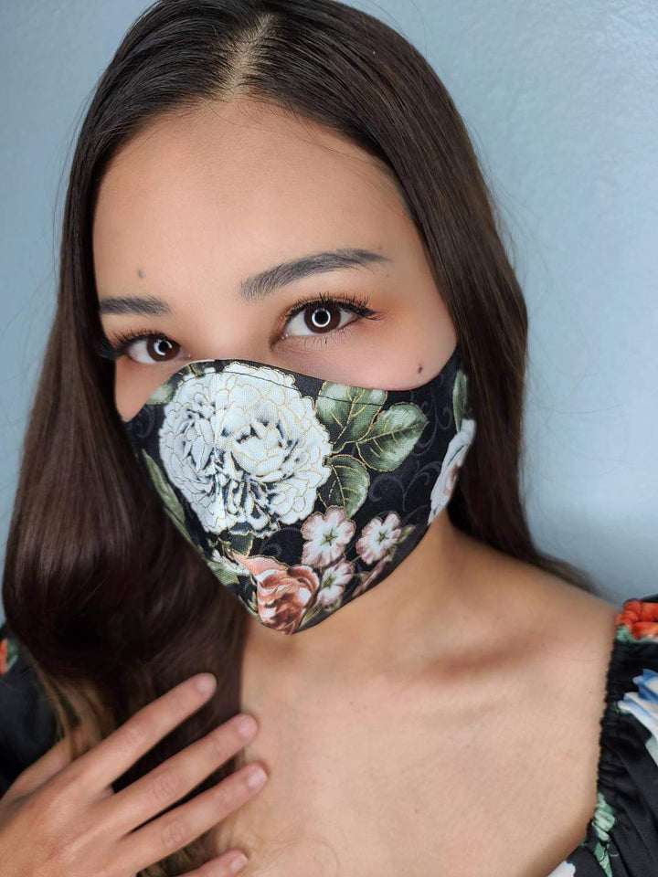 BLACK FLOWER FACE MASK 100% COTTON THREE LAYER WITH POCKET HANDCRAFTED BY HOUSEWIVES FROM MY DESIGNS FLORIDA