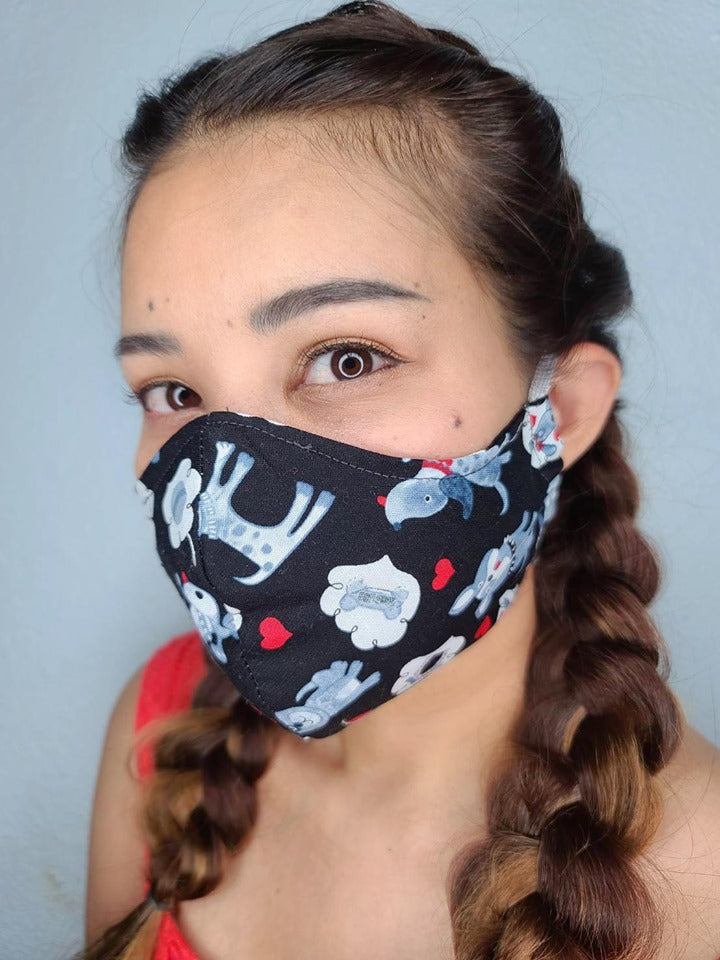 BLACK PUPPIES FACE MASK 100% COTTON THREE LAYER WITH POCKET HANDCRAFTED BY HOUSEWIVES FROM MY DESIGNS FLORIDA