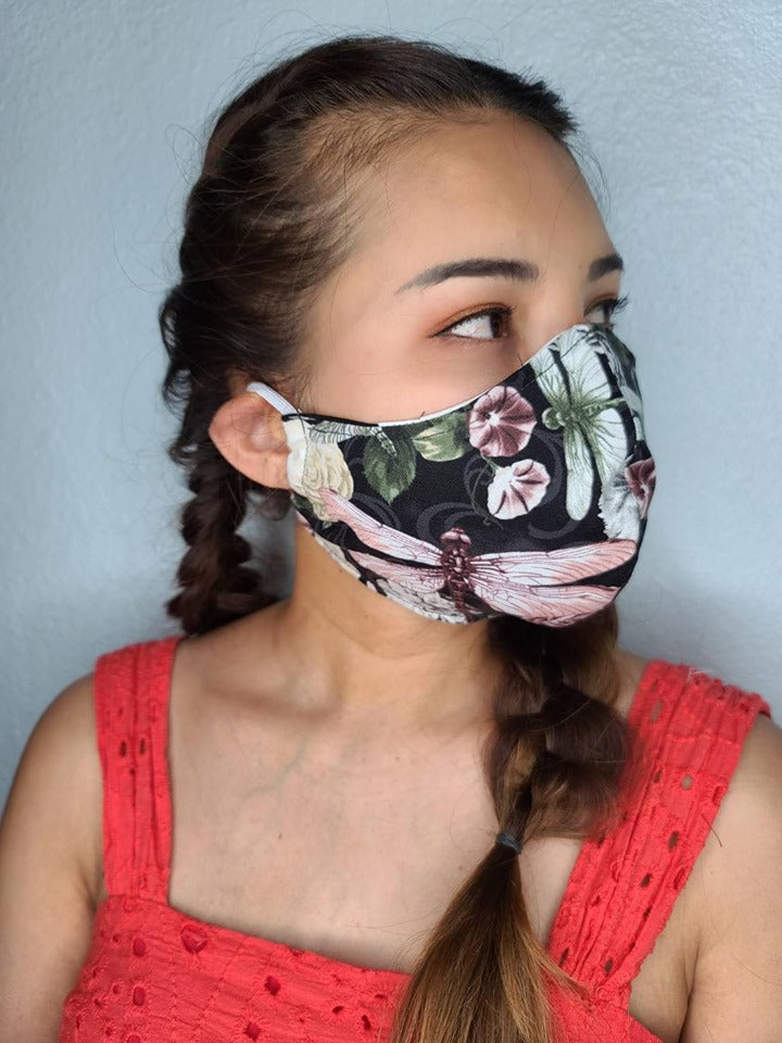 DARK DRAGONFLY FACE MASK 100% COTTON THREE LAYER WITH POCKET HANDCRAFTED BY HOUSEWIVES FROM MY DESIGNS FLORIDA