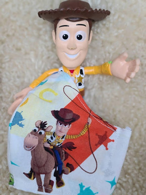 TOY STORY BUZZ WOODY FACE MASK 100% COTTON THREE LAYER WITH POCKET HANDCRAFTED BY HOUSEWIVES FROM MY DESIGNS FLORIDA