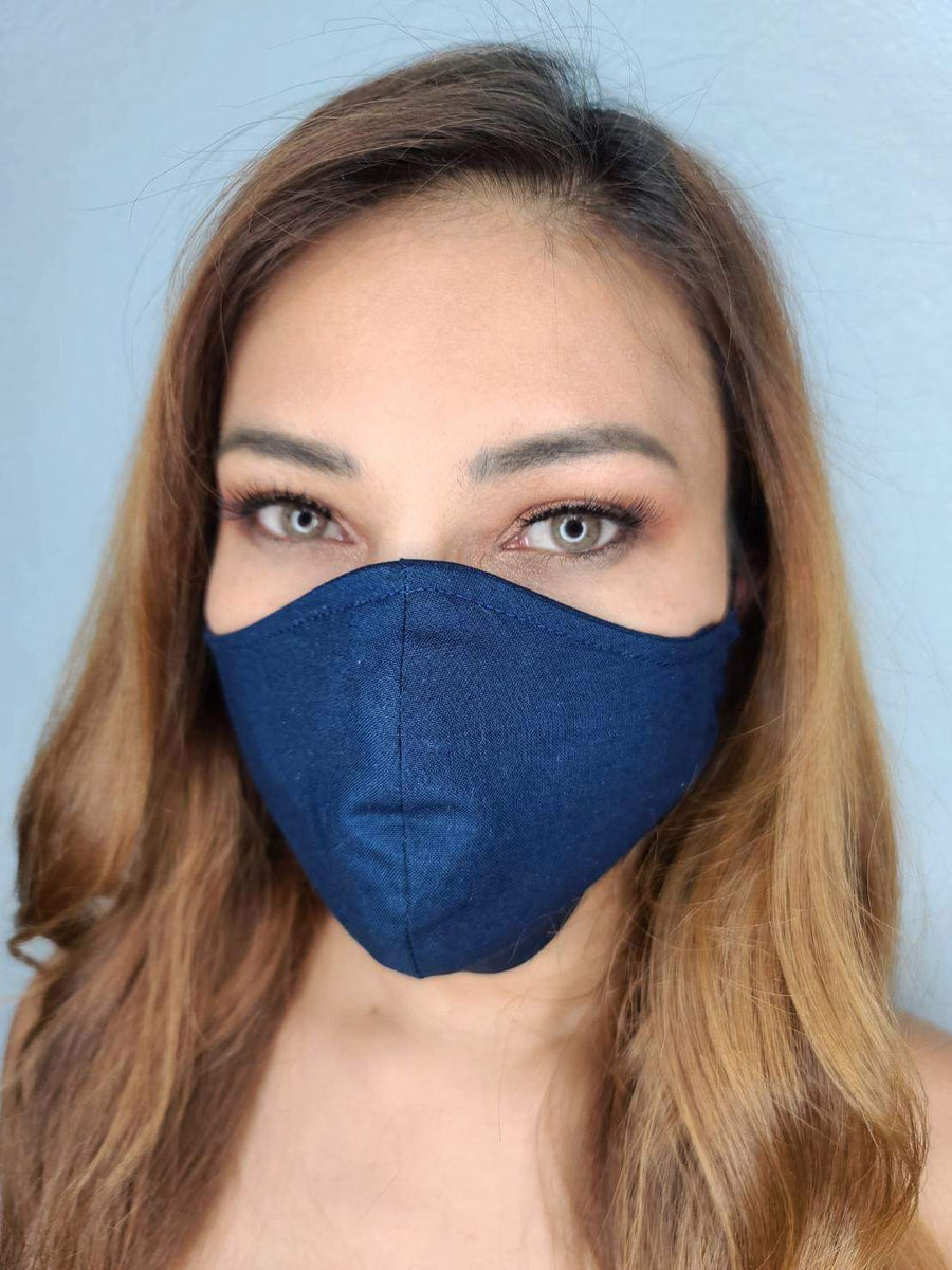 BLUE FACE MASK 100% COTTON THREE LAYER WITH POCKET HANDCRAFTED BY HOUSEWIVES FROM MY DESIGNS FLORIDA