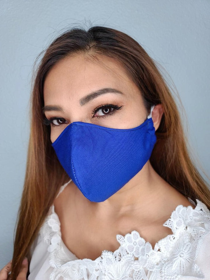 Marine blue cotton face mask