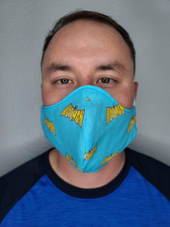 BLUE BATMAN FACE MASK 100% COTTON THREE LAYER WITH POCKET HANDCRAFTED BY HOUSEWIVES FROM MY DESIGNS FLORIDA