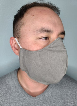 CHARCOAL GREY FACE MASK 100% COTTON THREE LAYER WITH POCKET HANDCRAFTED BY HOUSEWIVES FROM MY DESIGNS FLORIDA