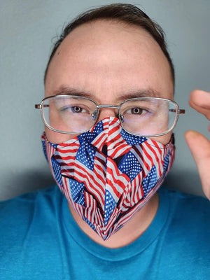 USA FLAG FACE MASK 100% COTTON THREE LAYER WITH POCKET HANDCRAFTED BY HOUSEWIVES FROM MY DESIGNS FLORIDA
