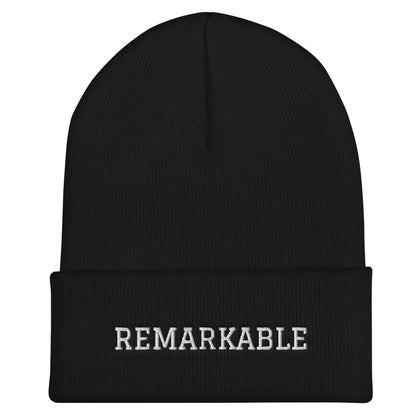 REMARKABLE Cuffed Beanie-Black/White
