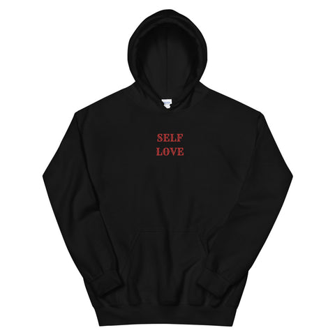 Self Love Embroidered Hoodie- Black and Red