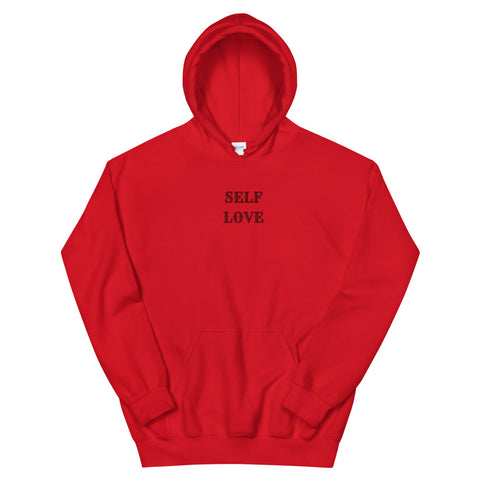 Self Love Embroidered Hoodie-Red