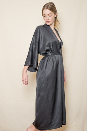 Brigitte Silk Robe in Black