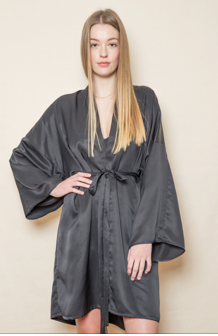 Brigitte Black Silk Robe: Mid Length