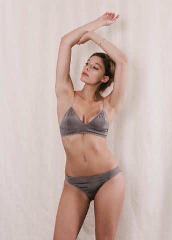 Sadie Silk Bralette in silver lingerie Now or Never NZ