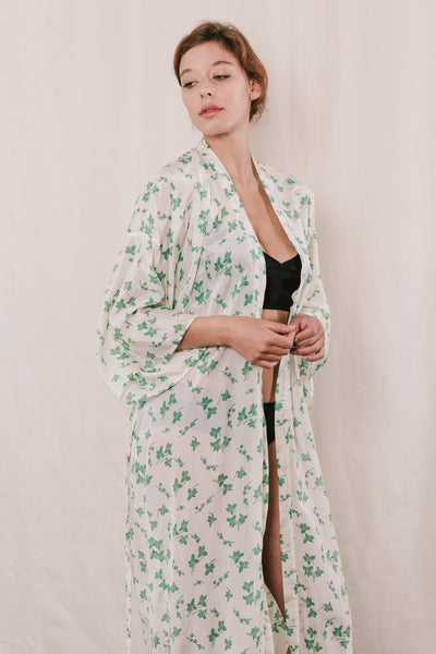 Ivy Silk Cotton Robe Now or Never Lingerie New Zealand
