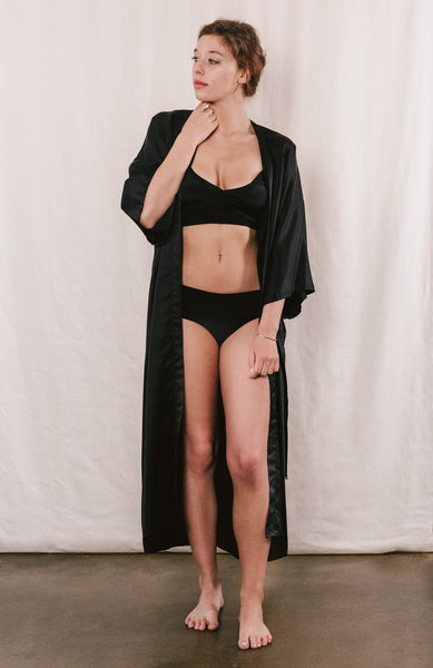 Brigette Black Silk Robe: Full Length