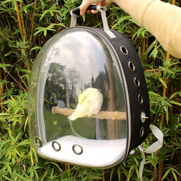Parrot Backpack pet Carrying Cage Outdoor Travel Comfortable Breathable transparent Carrier Backbag Space Capsule with bracket