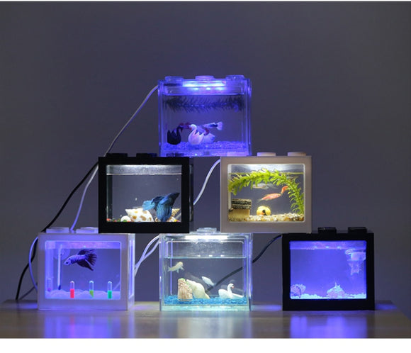 Aquariums Mini Clear USB LED Goldfish Betta Fish Tank Ornament Aquarium Black Red White Color Desktop Decoration