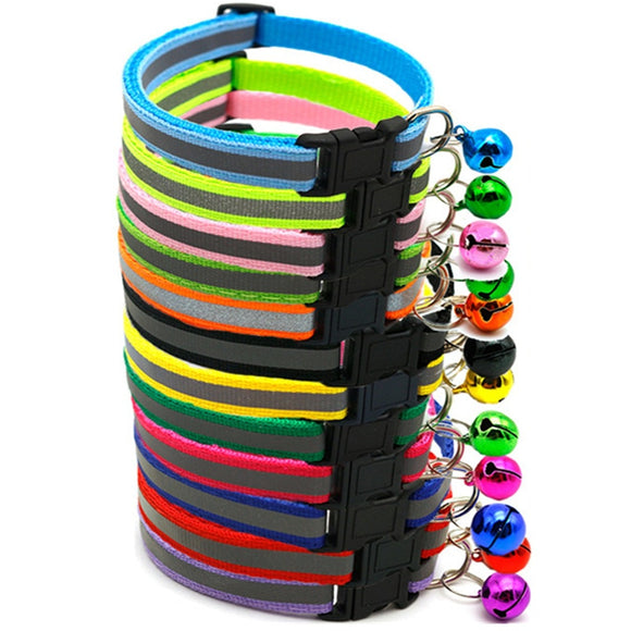 Reflective Charm and Bell Cat Collar Safety Elastic Adjustable with Soft Velvet Material 12 colors pet Product small dog collar