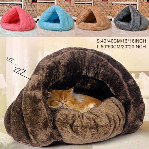 New Pet Dog Cat Cave Igloo Bed Basket House Kitten Soft Cozy Indoor Cushion Kennel Hot