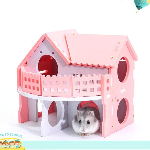Cute Small Animal Cages Rabbit Hamster House Single-Double layer Skateboard Spinning Wheel Hamster Gerbil Mouse Pet Cage House