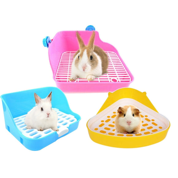 Hamster Pet Cat Rabbit Corner Toilet Litter Trays Clean Indoor Pet Litter Training Tray  For Small Animal Pets