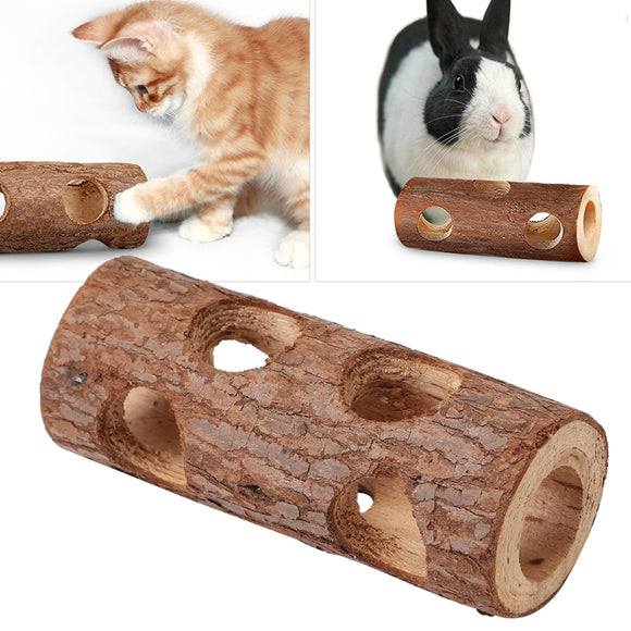 Gift Pet Toy Cat Small Animal Funny Safe Wood Tunnel Hollow Tree Rabbit Dog Teeth Grinding Mice Solid Tube For Hamster