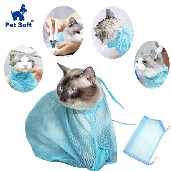 Pet Soft Cat Grooming Bag Adjustable Multifunctional Polyester Cat Washing Shower Mesh Bags Pet Nail Trimming Bags