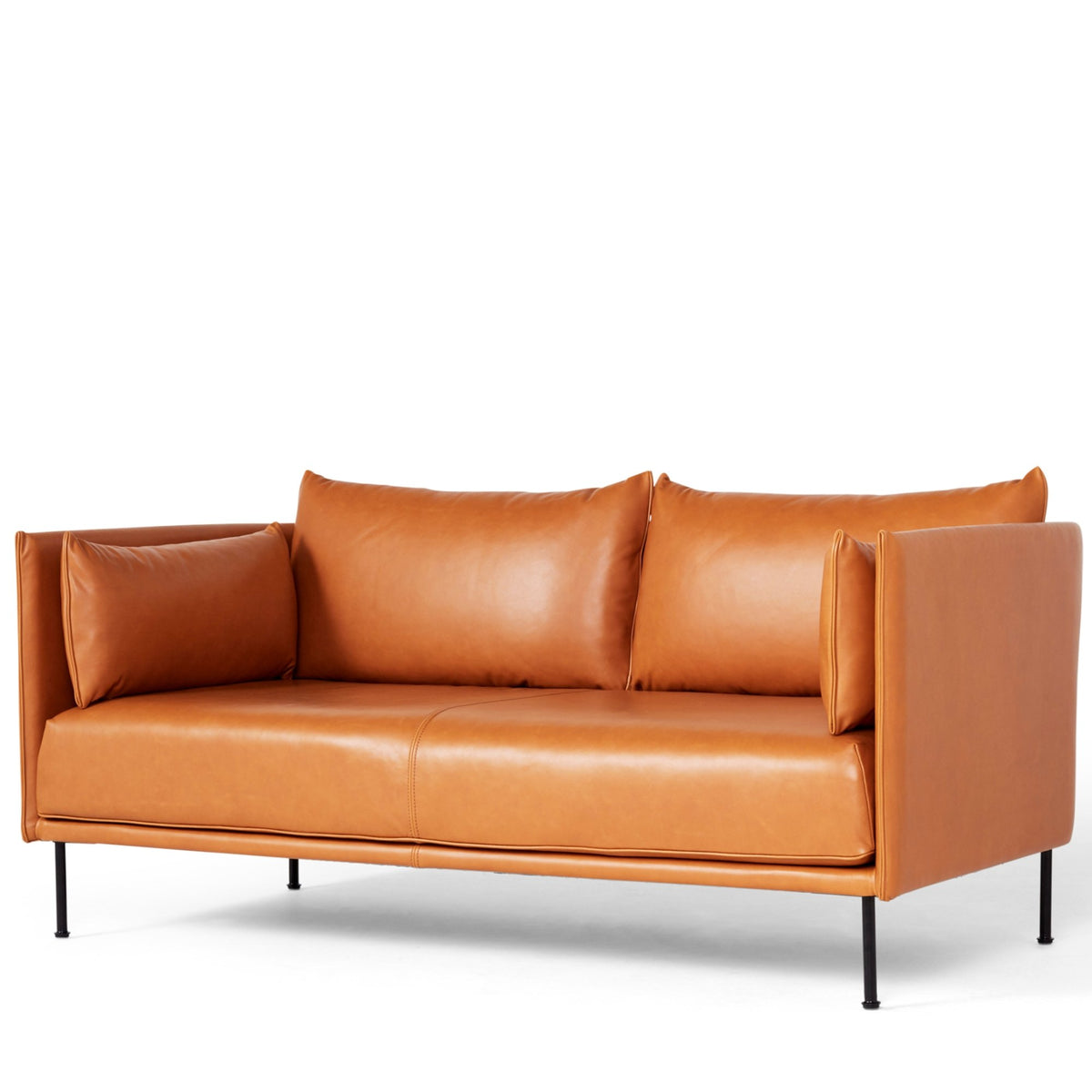 HAY Office Silhouette Sofa 2 Seater - Steel Leg Silk Leather