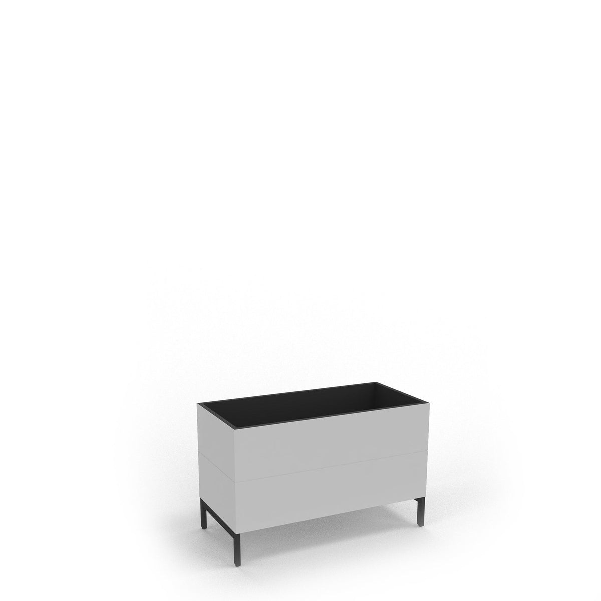 Edsbyn Office Neat Green Planter Box with Black Base 800mm White