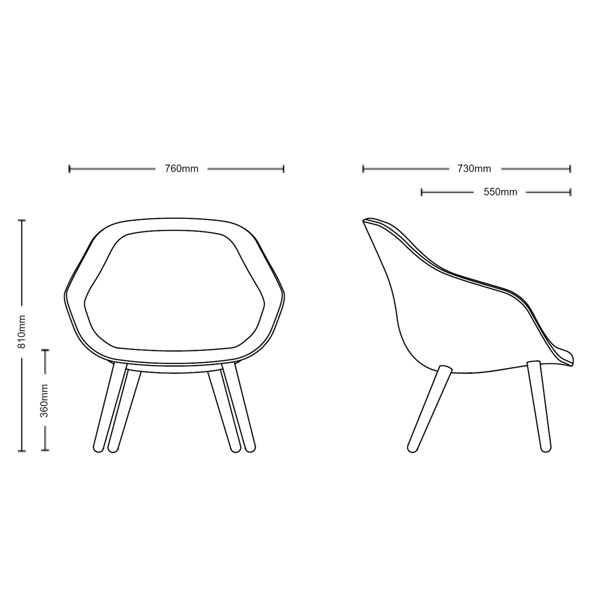 Dimensions for HAY About A Lounge Chair AAL 82