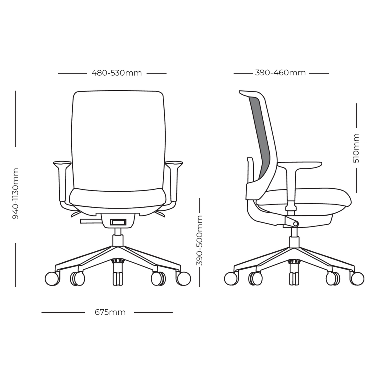 Dimensions for Actiu Office Trim 50 Task Chair