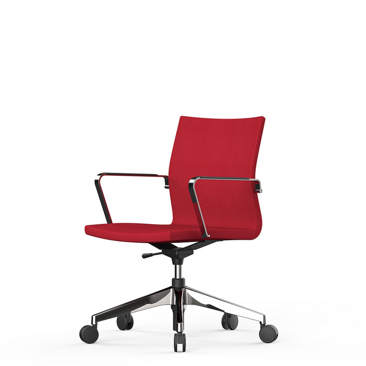 Actiu Office UMA Red Chair with Polished Aluminium Base