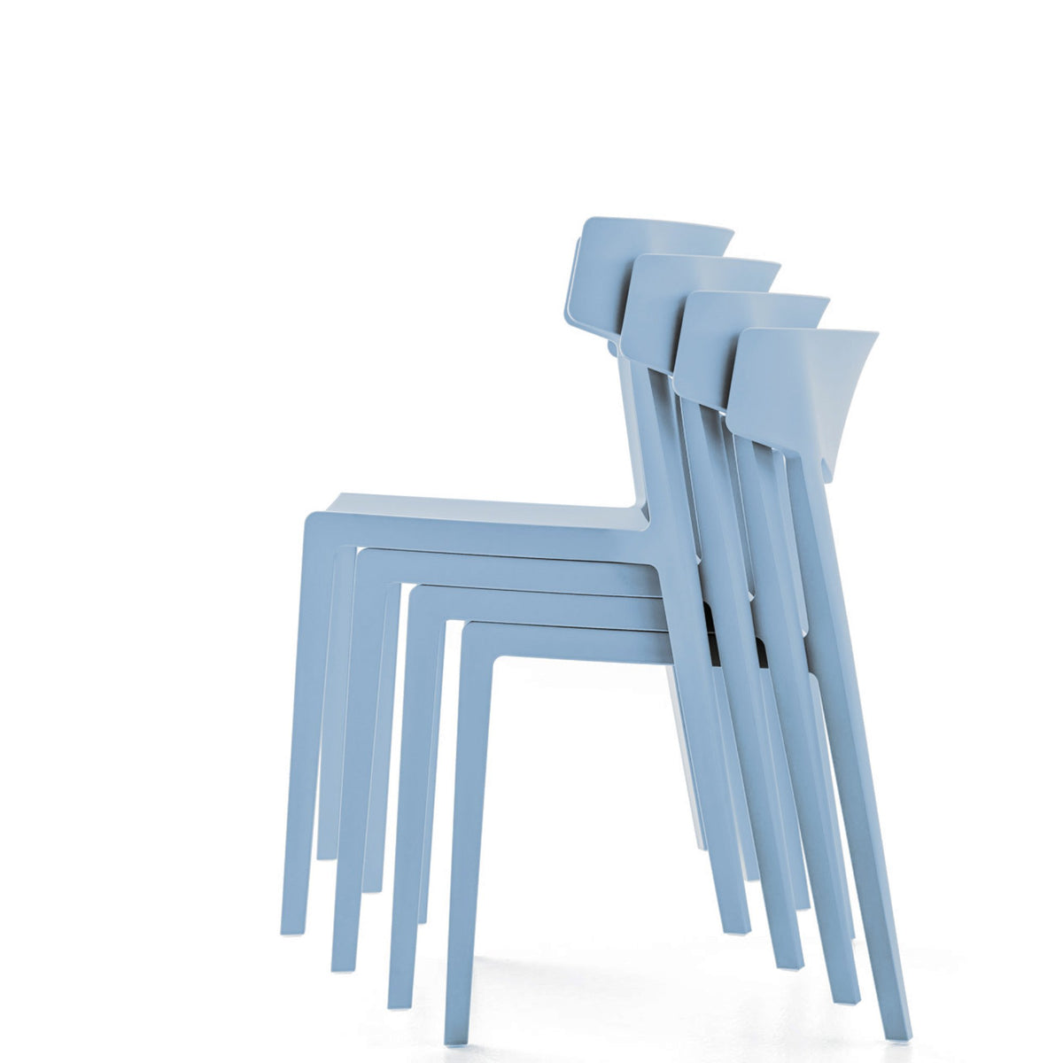 Actiu Office Wing Stackable Chair - Set of Four Light Blue