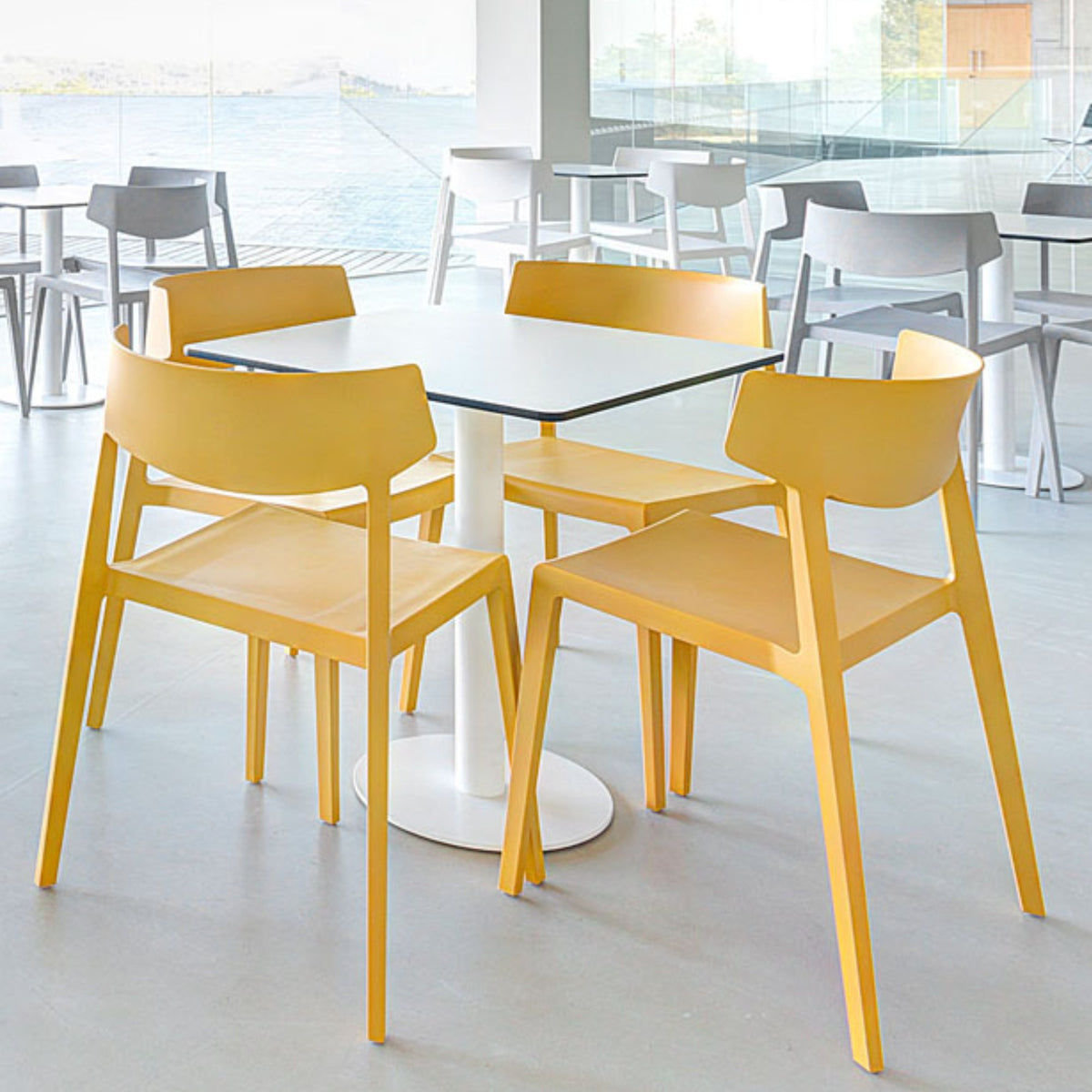 Actiu - Wing Stackable Chair - Set of Four - Mustard - Pack of 4 Chairs