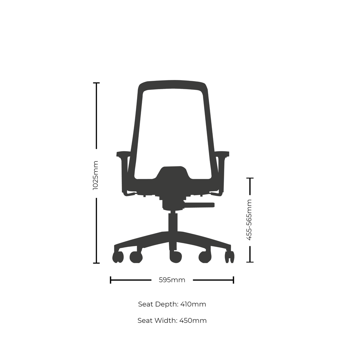 Dimensions for Interstuhl Buddy Conference Office Chair