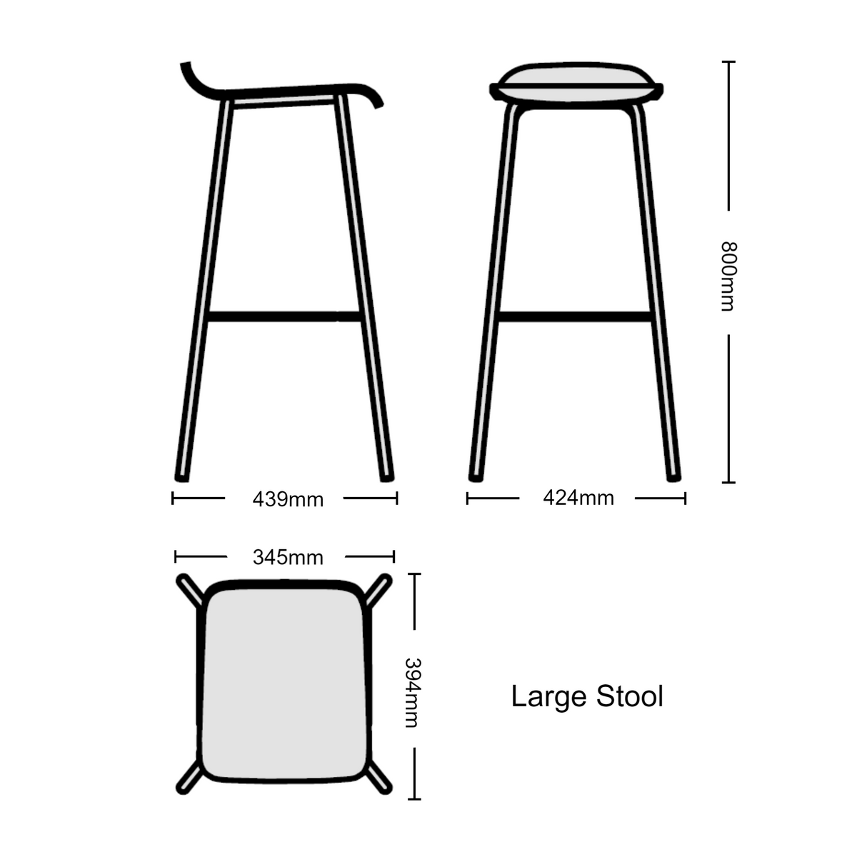 Dimensions for Edsbyn Office Upholstered Stool 800mmH