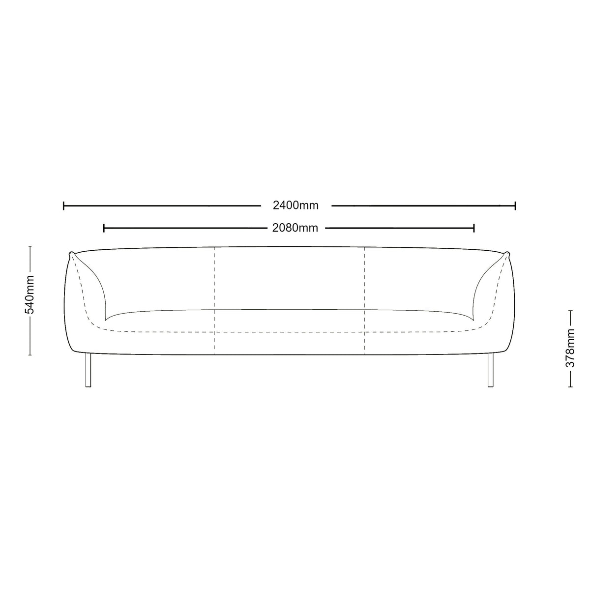 Dimensions for Edsbyn Gather 3 Seater Sofa