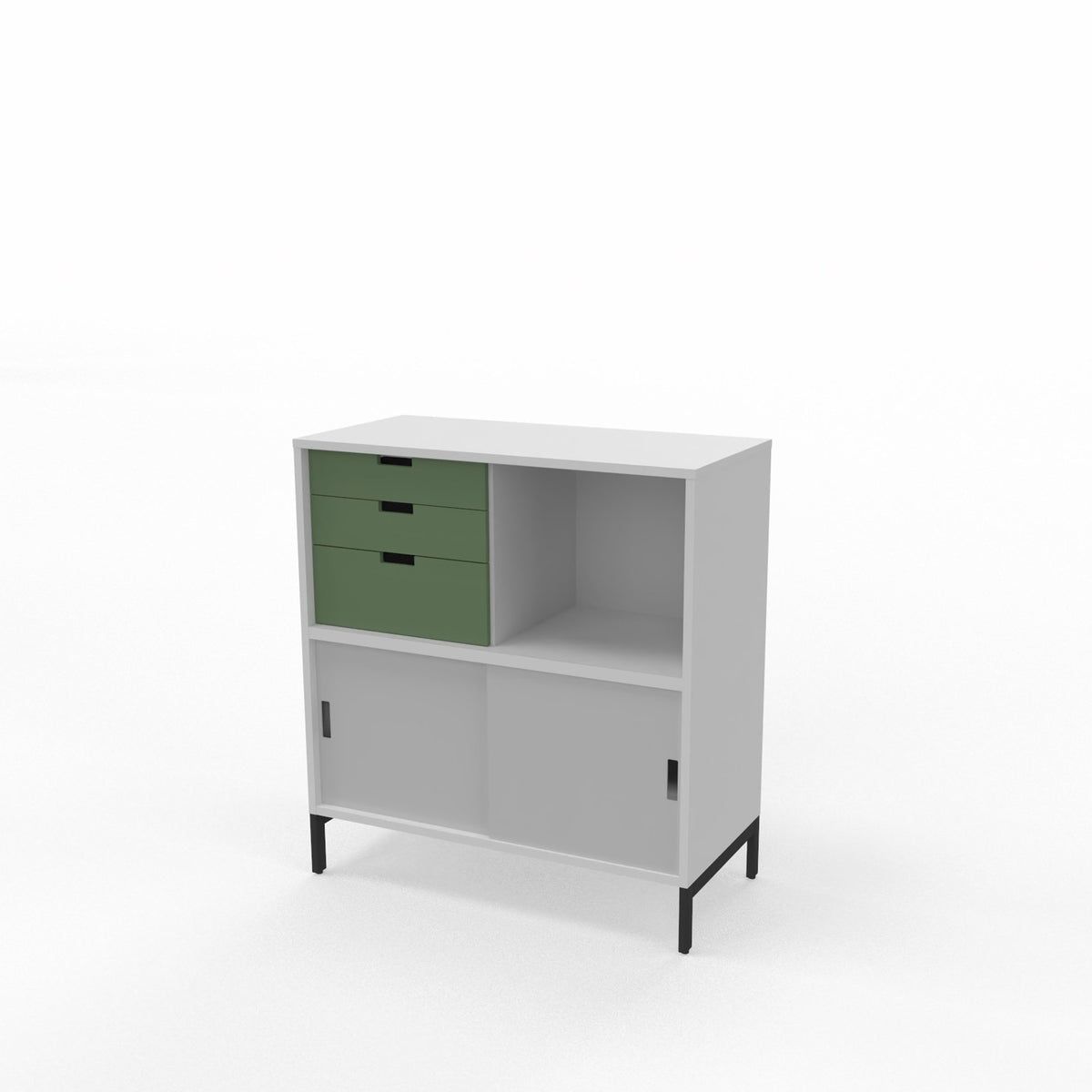 Edsbyn Office Neat Credenza 800m White and Grey with Bay Leaf Green