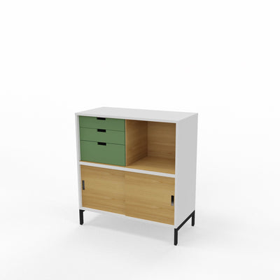 Edsbyn Office Neat Credenza 800m White and Oak with Bay Leaf Green