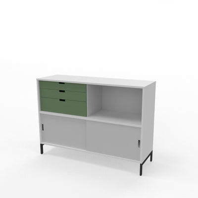 Edsbyn Office Neat Credenza 1200m White and Grey with Bay Leaf Green