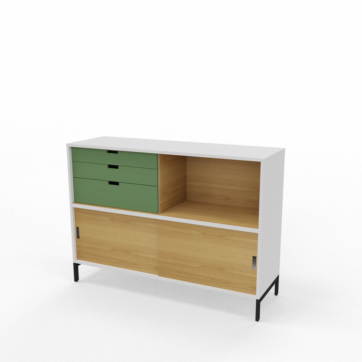 Edsbyn Office Neat Credenza 1200m White and Oak with Bay Leaf Green