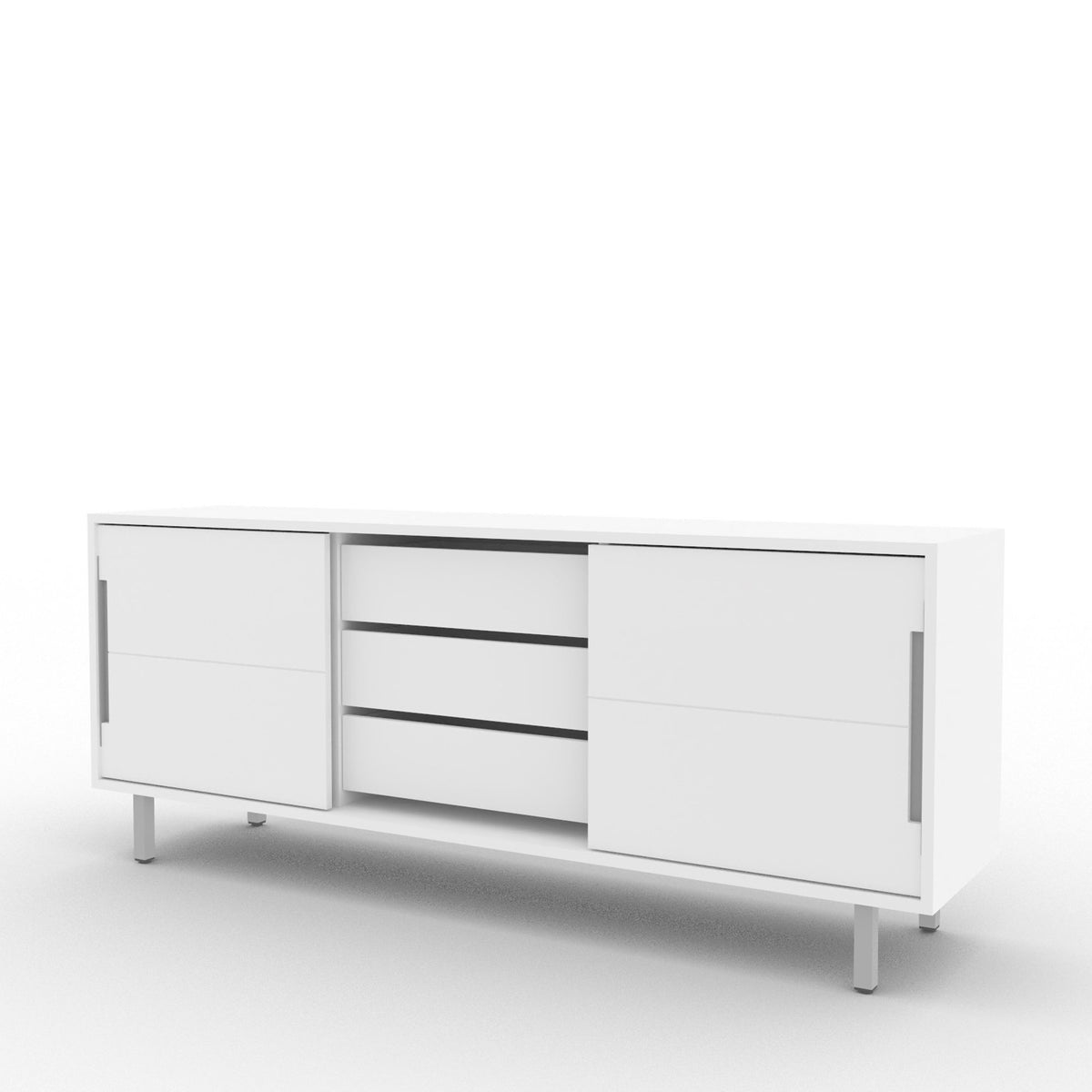 Edsbyn Office Part Sideboard 1800mmW White with Silver Base