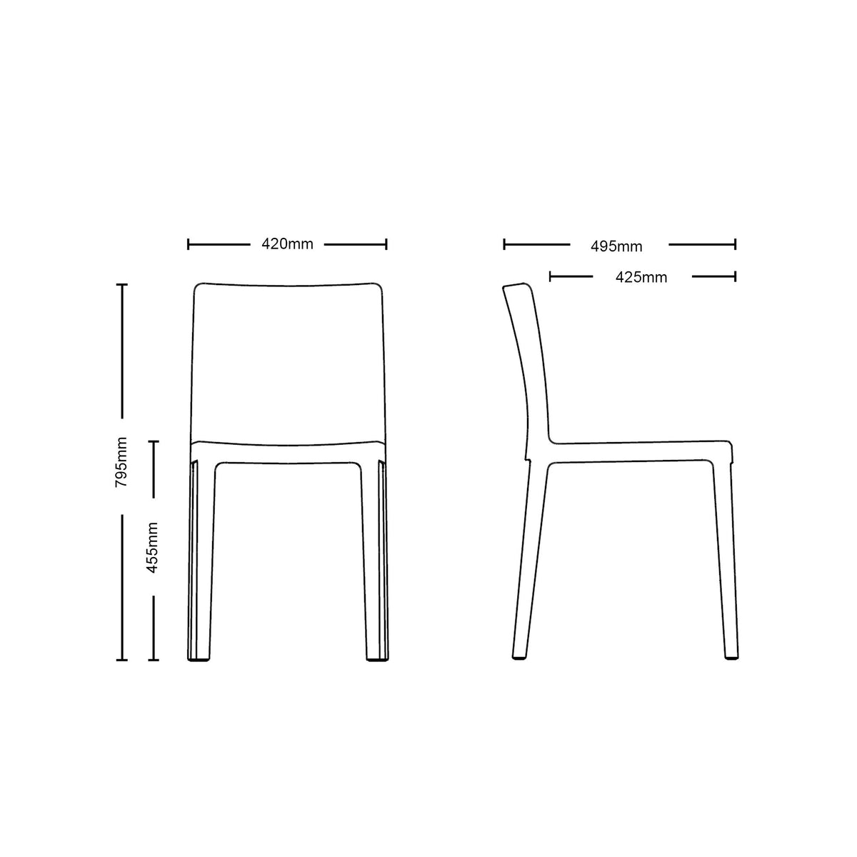 Dimensions for HAY Office Pair of Élémentaire Chairs
